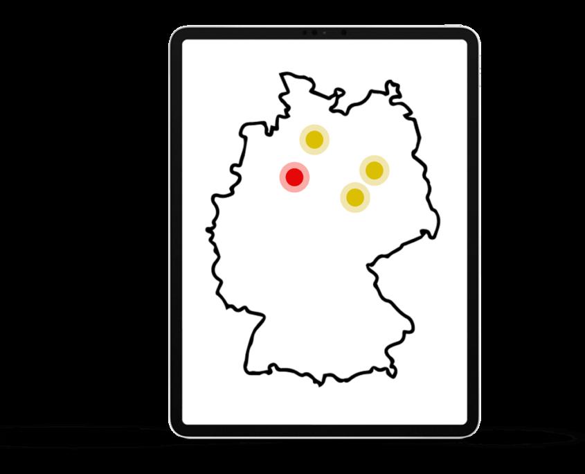 Temps rot gelb Landkarte